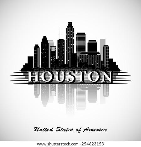 Houston Texas skyline city silhouette - stock vector