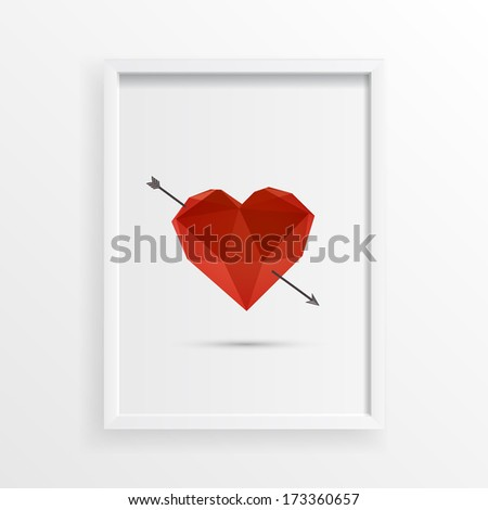 Hover 3d origami red heart design with arrow and shadow in minimal white picture frame Eps 10 vector illustration  - stock vector