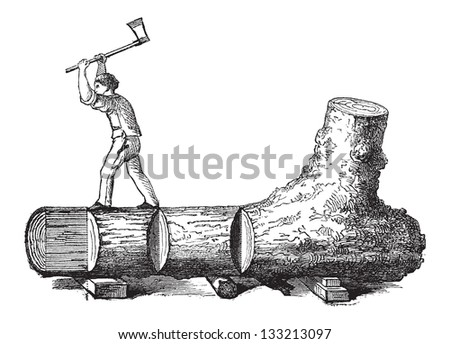 How a Tree is Made into Lumber - lumberjack cutting a tree trunk into rectangular sections, vintage engraved illustration. Le Magasin Pittoresque - 1874 - stock vector