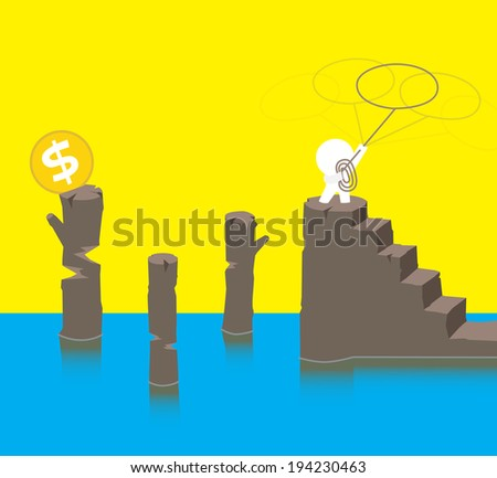 How to get those money? - stock vector