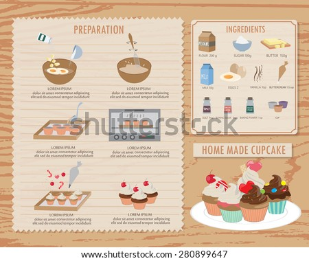how to make cupcake receipt,food and sweet infographics background and elements. vintage style. Can be used for  layout, banner, web design, cookbook, brochure template. Vector illustration - stock vector