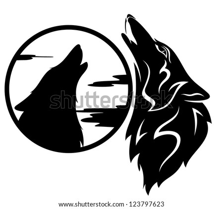 howling wolf tribal - black and white vector illustration - stock vector