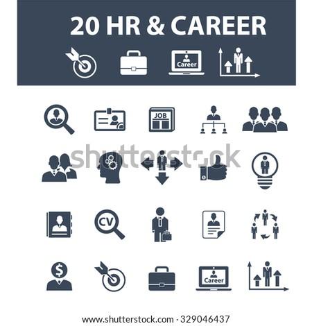 hr, career, job, cv, employment icons - stock vector