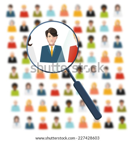 HR with magnifier looking for worker in crowd - stock vector
