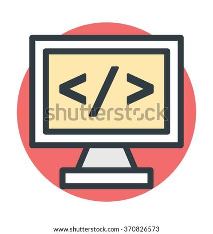 HTML Coding Vector Icon - stock vector