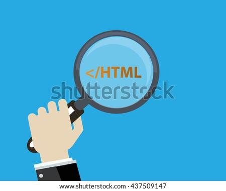 Html developer concept vector flat design.  - stock vector