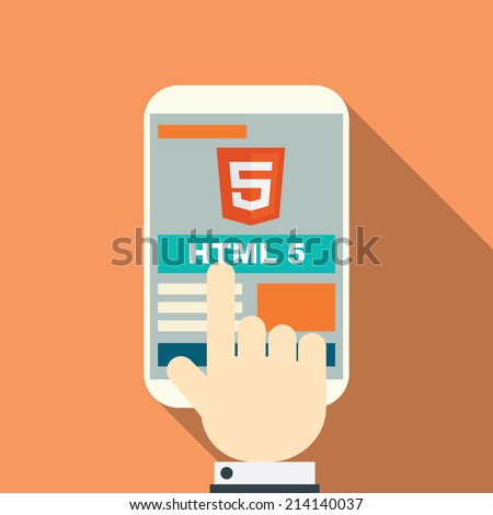 HTML 5 responsive web design on various devices. Eps10 vector illustration. - stock vector