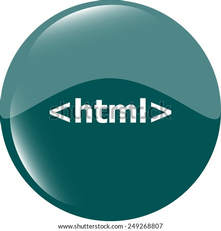html 5 sign icon. Programming language symbol. Circles buttons - stock vector
