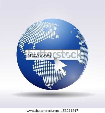 http://www. written in search bar   - stock vector