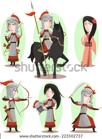 Hua Mulan Chinese female hero Traditional Culture, vector illustration cartoon. - stock vector