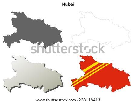 Hubei blank outline map set - stock vector