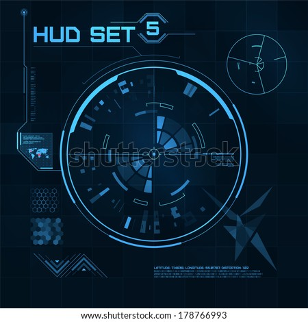 HUD and GUI set. Futuristic User Interface. Set 5 - stock vector