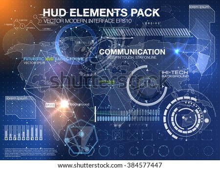 HUD background outer space. infographic elements. futuristic user interface. Vector science Polygonal background. Futuristic HUD background. Vector science background. Communication abstract - stock vector