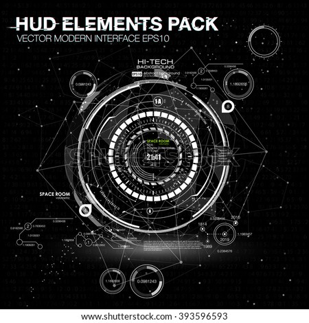 HUD background outer space. infographic elements. futuristic user interface. Vector science Polygonal background. Black and white infographic elements. futuristic user interface HUD - stock vector