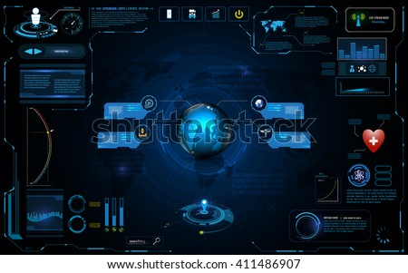 hud interface global network connection tech innovation concept element template design - stock vector