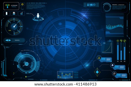 hud interface technology computer communication telecoms innovation concept template design - stock vector