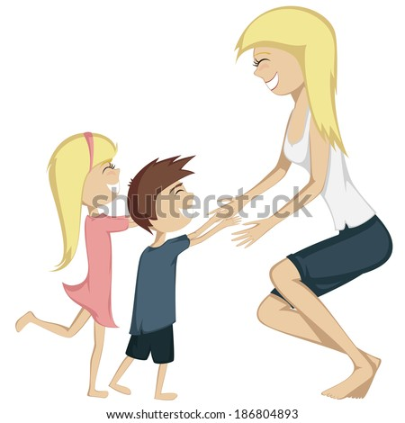 Hug Your Mom! Colorful and detailed cartoon-style art with a blonde girl and a brown haired boy are running towards their mother for a hug. - stock vector