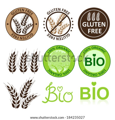 Huge collection gluten free seals. Various colorful designs, can be used as stamps, seals, badges, for packaging etc. - stock vector
