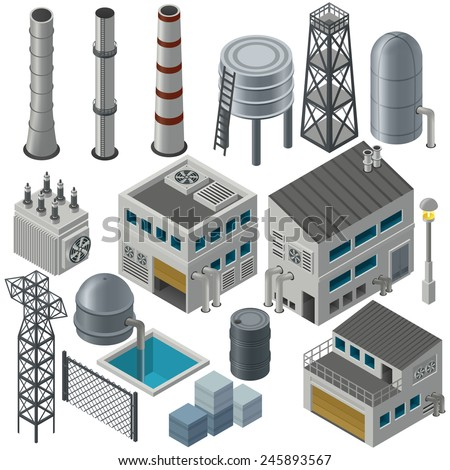 Huge collection of isometric industrial buildings and other objects, Could combine together in order to create big industrial area.  - stock vector