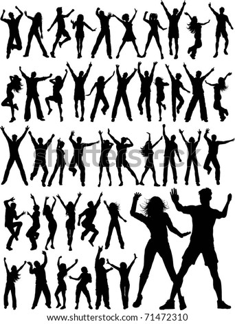 Huge collection of silhouettes of people dancing - stock vector