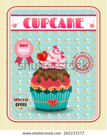 Huge cupcake with pink cream and brown chocolate  - stock vector