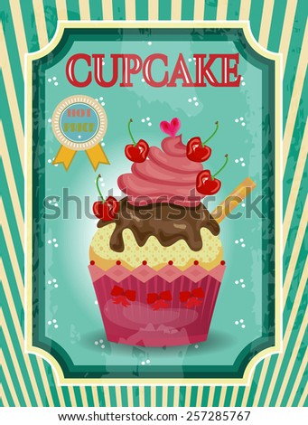 Huge cupcake with small cherries and chocolate cream - stock vector