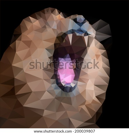 Huge fangs of a lion, isolated on black background. The King of beasts, biggest cat of the world. The most dangerous and mighty predator of the world with open chaps. Square vector mosaic image. - stock vector