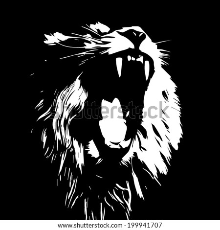 Huge fangs of an Asian lion, isolated on black background. The King of beasts, biggest cat of the world. The most dangerous predator of the world with open chaps. Black and white vector image. - stock vector