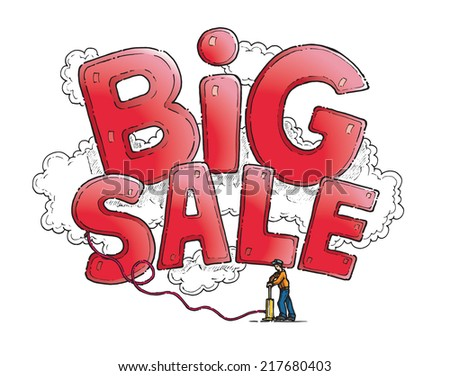 Huge inflatable Big Sale sign being pumped up by a man. Hand drawn isolated vector sketch on white background. - stock vector