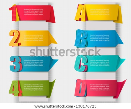 Huge set of colorful origami paper banners with numbers and litters. Vector illustration - stock vector