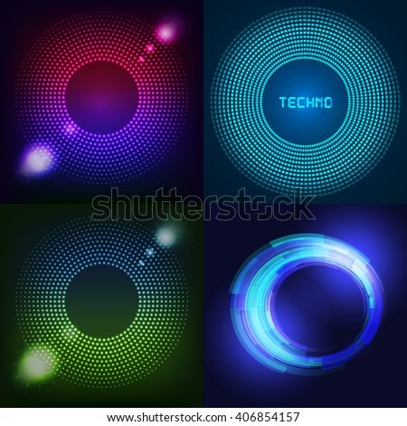 Huge set of glowing rounds with glitter. Abstract colored shape for your business idea. Vector editable logo background illustration. - stock vector
