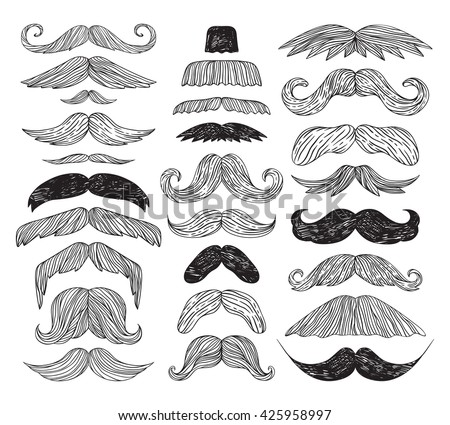 Huge set of vector mustache. Mustache black hair and man mustache hipster set. Mustache retro curly collection and face beard mustache. Mustache barber silhouette hairstyle hipster mask disguise. - stock vector