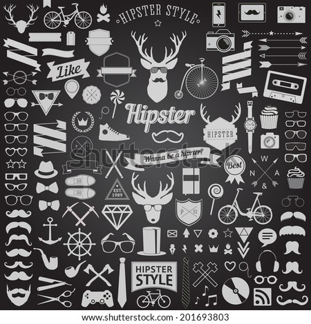 Huge set of vintage styled design Hipster icons. Vector signs and symbols templates bicycle, phone, gadgets, sunglasses, mustache, anchor, ribbons and other things - stock vector