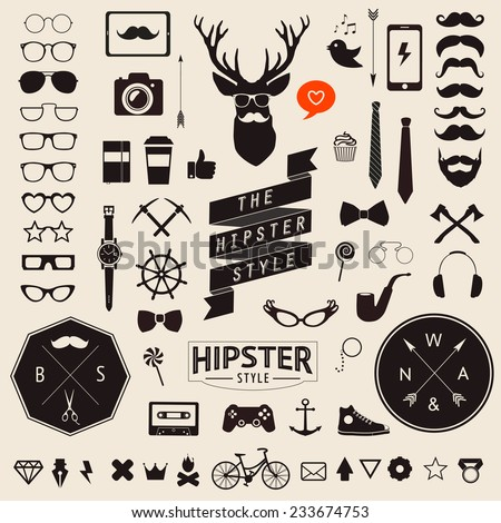 Huge set of vintage styled design hipster icons Vector signs and symbols templates for your design Largest set of phone, gadgets, sunglasses, mustache, ribbons infographcs element and other things.  - stock vector