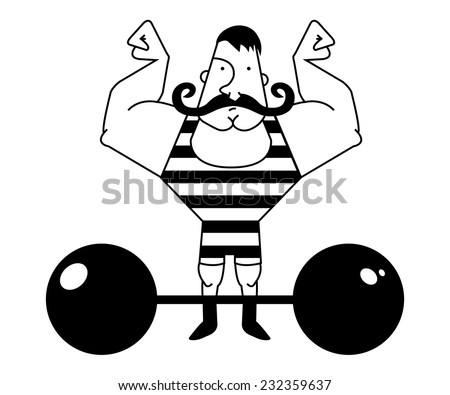 Huge, strong circus athlete with dark twirled mustaches showing of his strength. Black and white illustration isolated on white - stock vector