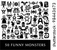 Huge vector set of funny cartoon monsters. - stock vector
