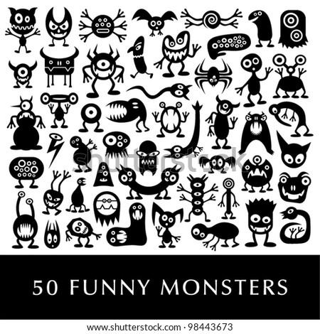 Huge vector set of funny cartoon monsters. - stock vector