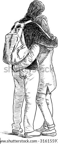 hugging couple - stock vector