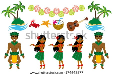 Hula Dancer and Hawaiian image set - stock vector