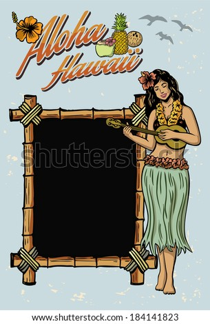 Hula girl playing ukulele sign - stock vector