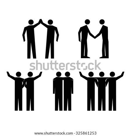 Human Action Poses. Stick Figure Pictogram Icons - stock vector