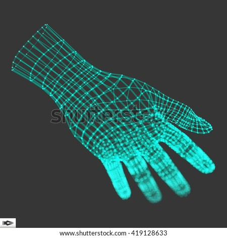 Human Arm. Hand Model. 3d Covering Skin. Vector Illustration. - stock vector
