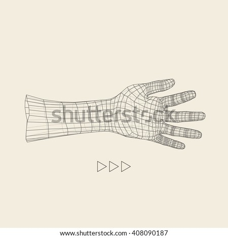 Human Arm. Human Hand Model. 3d Covering Skin. Polygonal Design. - stock vector