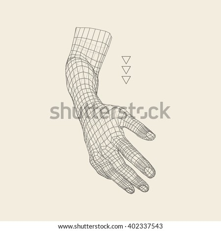 Human Arm. Human Hand Model. Hand Scanning. 3D Geometric Design. 3d Covering Skin. Polygonal Design. Can be used for science, technology, medicine, hi-tech, sci-fi. - stock vector