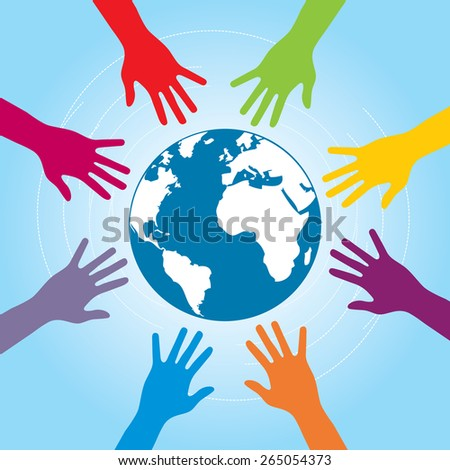 Human arms colored around the globe with the world map. Concept of cooperation and helps volunteers and human diversity. - stock vector