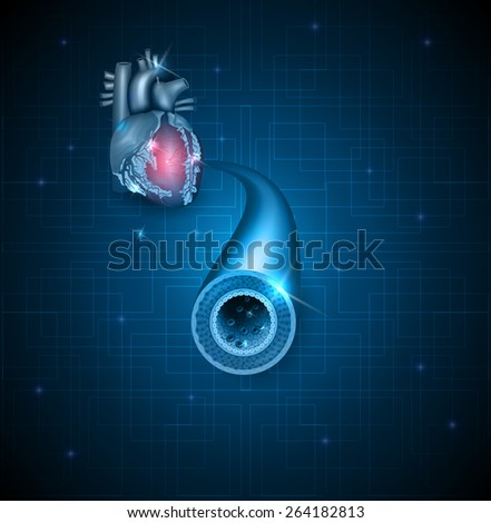 Human artery and heart abstract blue background - stock vector