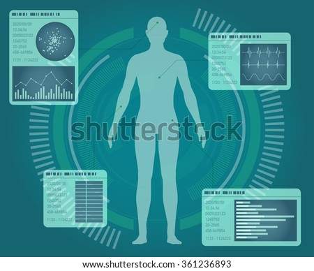 human body and info graphics, abstract interface, vector illustration - stock vector