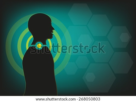 Human Body Figure shown with Highlighted Throat Area. Editable EPS10 Vector and jpg artwork. - stock vector