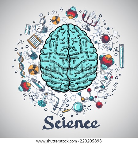 Human brain and physics and chemistry icons in science concept sketch vector illustration - stock vector