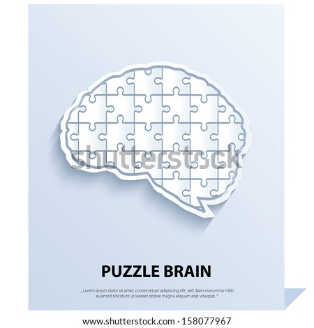 Human brain composed of a puzzle. - stock vector